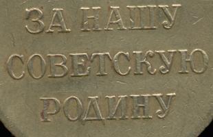 Несколько изменены буквы («З», «У», первая «С») в надписи «ЗА НАШУ СОВЕТСКУЮ РОДИНУ»